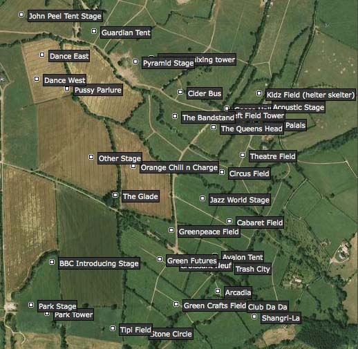 Image of Glastonbury Festival GPS locations of stages