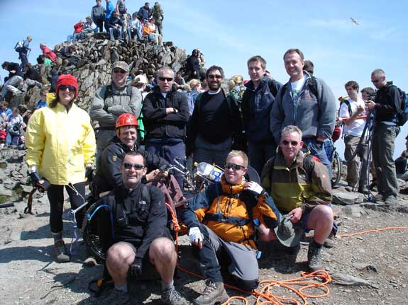 "The ""Spinal Top"" Snowdon Push team"
